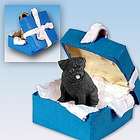 Pug Black Gift Box Blue Ornament