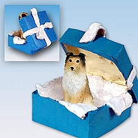 Sheltie Sable Gift Box Blue Ornament