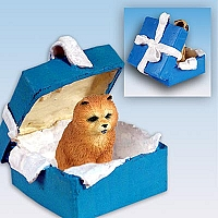 Chow Red Gift Box Blue Ornament