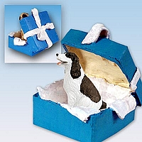 Springer Spaniel Liver & White Gift Box Blue Ornament