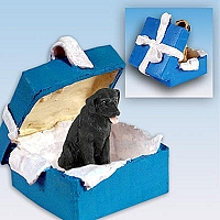 Labrador Retriever Black Gift Box Blue Ornament