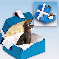 Doberman Pinscher Red w/Cropped Ears Gift Box Blue Ornament