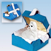 Shih Tzu White Gift Box Blue Ornament