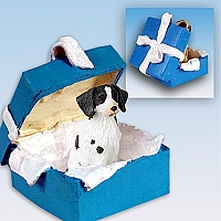 Brittany Liver & White Spaniel Gift Box Blue Ornament