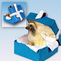 Afghan Tan & White Gift Box Blue Ornament