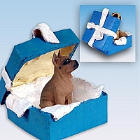 Boxer Tawny Gift Box Blue Ornament