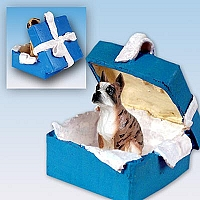 Boxer Brindle Gift Box Blue Ornament