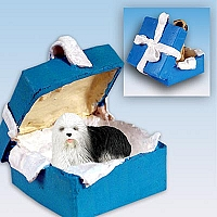 Old English Sheepdog Gift Box Blue Ornament