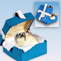 Pekingese Gift Box Blue Ornament