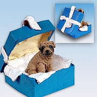 Shar Pei Brown Gift Box Blue Ornament