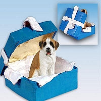 Saint Bernard w/Smooth Coat Gift Box Blue Ornament