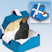 Brussels Griffon Black Gift Box Blue Ornament