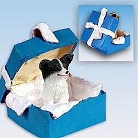 Papillon Black & White Gift Box Blue Ornament