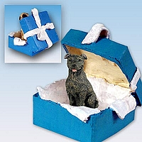 Staffordshire Bull Terrier Brindle Gift Box Blue Ornament