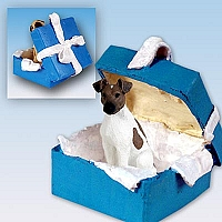 Fox Terrier Brown & White Gift Box Blue Ornament