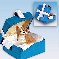 Welsh Corgi Pembroke Gift Box Blue Ornament