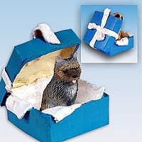 Cairn Terrier Brindle Gift Box Blue Ornament