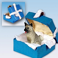 Akita Gray Gift Box Blue Ornament