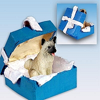 Akita Fawn Gift Box Blue Ornament