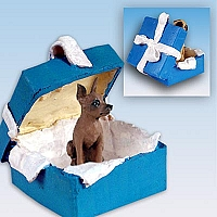Miniature Pinscher Red & Brown Gift Box Blue Ornament