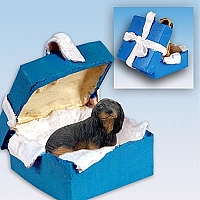 Dachshund Longhaired Black Gift Box Blue Ornament