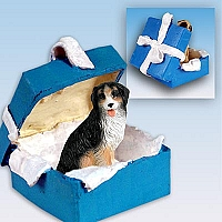 Bernese Mountain Dog Gift Box Blue Ornament
