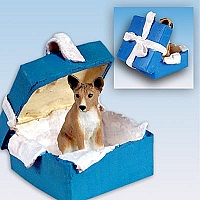 Basenji Gift Box Blue Ornament