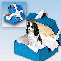 Cavalier King Charles Spaniel Black & White Gift Box Blue Ornament