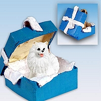 American Eskimo Miniature Gift Box Blue Ornament