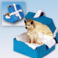 Australian Cattle Red Dog Gift Box Blue Ornament