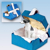 Whippet Gray & White Gift Box Blue Ornament