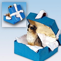 Australian Shepherd Brown Gift Box Blue Ornament