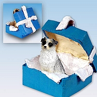 Australian Shepherd Blue Gift Box Blue Ornament