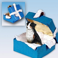 Australian Shepherd Tricolor Gift Box Blue Ornament