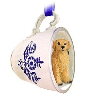Golden Retriever Tea Cup Blue Ornament