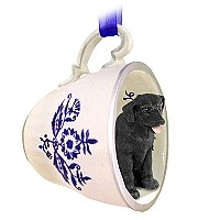 Labrador Retriever Black Tea Cup Blue Ornament