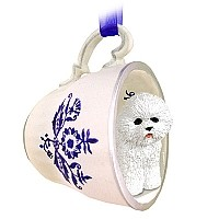 Bichon Frise Tea Cup Blue Ornament