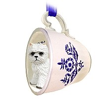 West Highland Terrier Tea Cup Blue Ornament