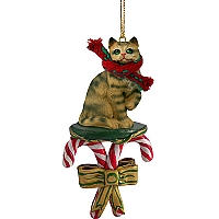 Brown Shorthaired Tabby Cat Candy Cane Ornament