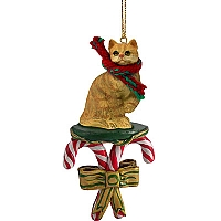 Red Shorthaired Tabby Cat Candy Cane Ornament