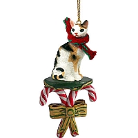Tortoise & White Cornish Rex Candy Cane Ornament