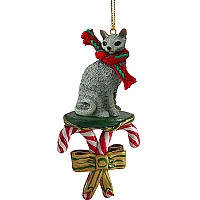 Blue Cornish Rex Candy Cane Ornament
