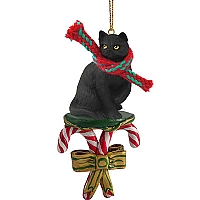 Black Shorthaired Tabby Cat Candy Cane Ornament