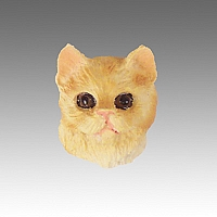 Red Shorthaired Tabby Cat Tiny One head CH04
