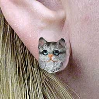 Silver Shorthaired Tabby Cat Earrings Post