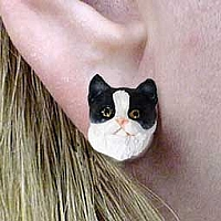 Black & White Shorthaired Tabby Cat Earrings Post