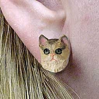 Brown Shorthaired Tabby Cat Earrings Post