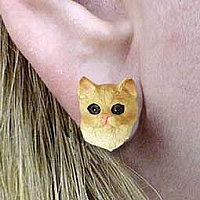 Red Shorthaired Tabby Cat Earrings Post