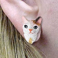 Tortoise & White Cornish Rex Earrings Post