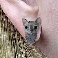 Blue Cornish Rex Earrings Post